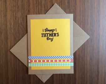 """Simple and Fun """"Happy Father's Day"""" Crafty Handmade Card (Yellow)"""