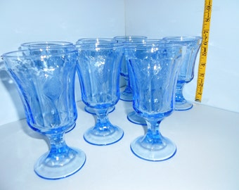 Blue goblets in Madrid Recollections pattern from Indiana Glass Co.