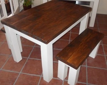 New Handmade Rustic Kitchen Table & Bench Set 009