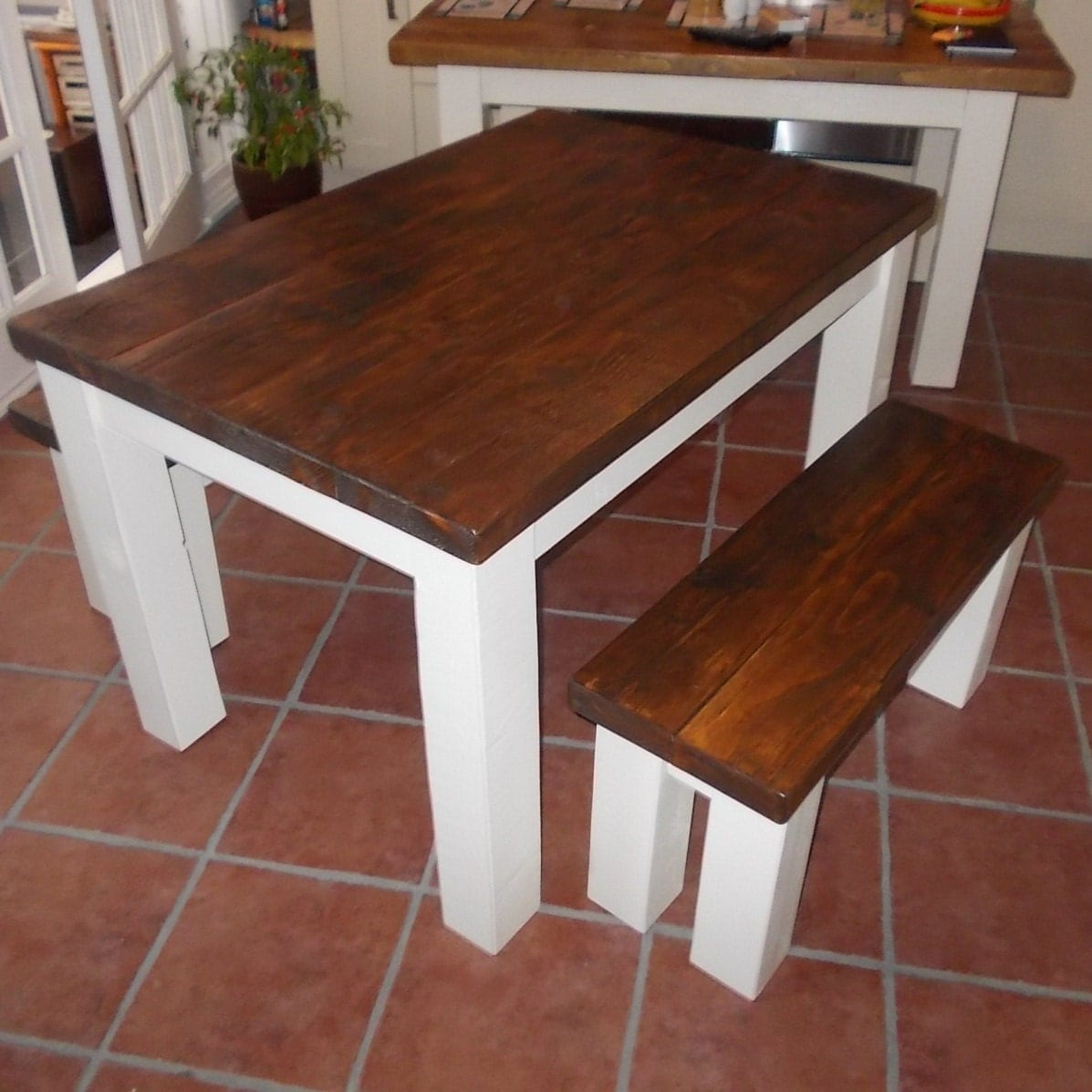 Kitchen Table With Bench Rustic Kitchen Tables And Table: New Handmade Rustic Kitchen Table & Bench Set 009