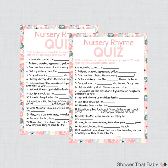 nursery rhyme game baby shower game in floral print printable