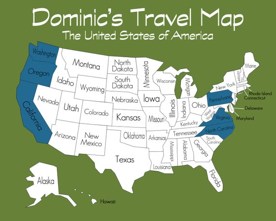 Travel Map of the United States Custom