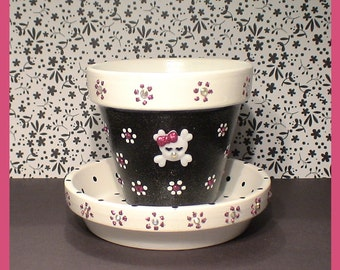 Pirate's Pretty 3.5 in Flower Pot and Coordinating Saucer