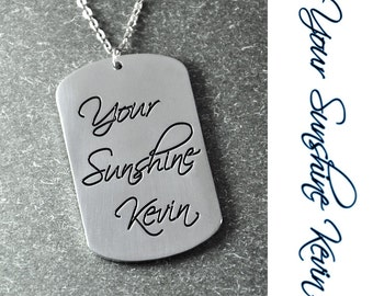 Free shipping - Small Dogtag Necklace, Handwriting Pendant, handmade pendant,Custom Signature , Personalized signature Jewelry