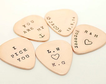 Personalized Guitar Pick, Customized, Hand Stamped Copper Guitar Pick - Gift for Husband, Dad, Boyfriend, Best Father's Day Gift