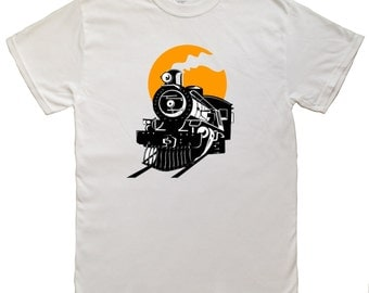 Vintage Steam Train Men's T-shirt 100% Cotton
