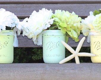 Green and yellow painted mason jar, cottage chic mason jars, beach mason jars, wedding mason jars, mason jars with lace, country wedding