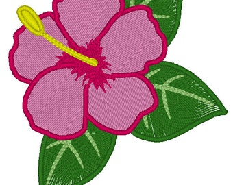 Hawaiian Flower Embroidery Design - Hibiscus Embroidery Design - Floral Machine Embroidery Design, Summer flower embroidery, tropical flower