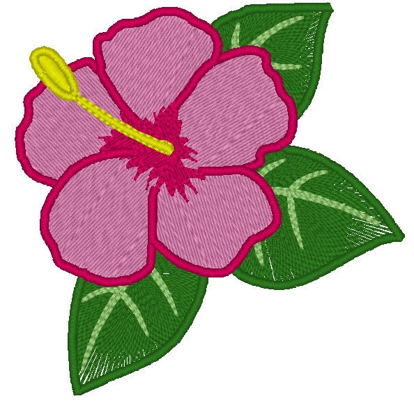Hawaiian flower embroidery design hibiscus