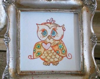 Orange Framed 3 x 3 Owl