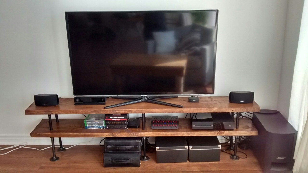 industrial pipe and wood tv stand media console - 🔎zoom