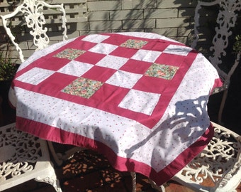 Pretty patchwork cotton tablecloth / picnic rug.