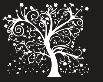 Curly Tree and leaves  vinyl decal/sticke