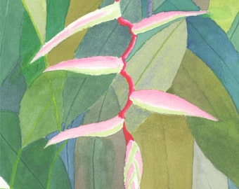 "HELICONIA 2, Original Watercolor, 11"" X 15"" vertical"