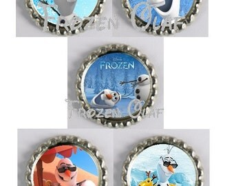 5 Frozen-Olaf Inspired Finished Bottle Caps