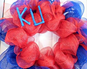KU Deco mesh wreath, kansas university mesh wreaths, KU wreaths kansas jayhawks, deco mesh wreaths, jayhawks, KU wreath Wreaths tulle wreath