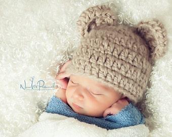 Hand Crochet Baby Hat Teddy Bear Chunky Photography/Photo Prop Newborn-12 Months Baby Boy Girl UK Seller
