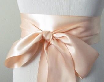 Petal Peach Ribbon Sash / Double Faced Ribbon Sash / Bridal Sash / Bridal Ribbon / Petal Peach