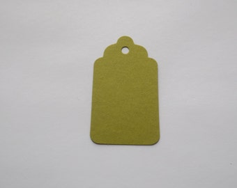 Moss Green Scallop Tags - Gift Tags - Favor- Scrapbooking - Die Cut - Set of 75 - Embellihsments - Hang Tags