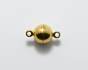 15pcs 6mm Round Magnetic Clasp in Gold Plated, Bracelet Connectors, Jewelry Findings Supplies #SD-S7055