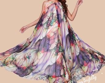 60 Colors Chiffon Flower Long Party Dress Evening Wedding Maternity Lightweight Sundress  summer Holiday Beach Dress Bridesmaid Maxi Skirt