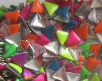 4mm Neon Triangle Nail Studs, DIY Nail Art, 3D Nail Design