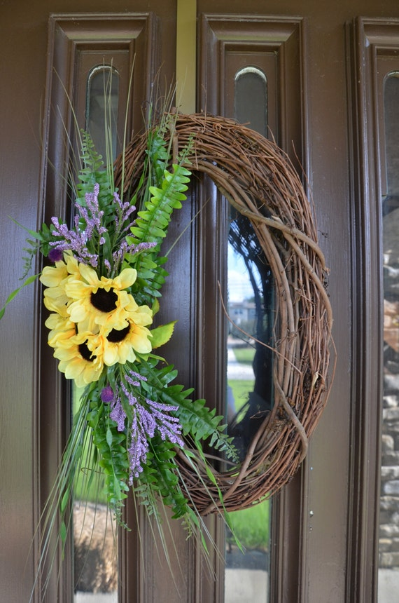 Spring Floral Oval Wreath Made With Grapevine Yellow
