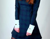 1960's Reproduction Tartan Mod Dress,, contrast Peter Pan collar and cuffs