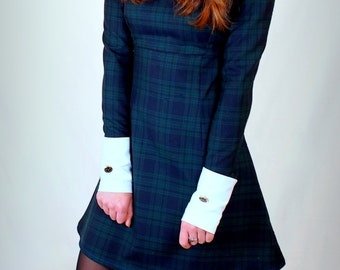 1960's Reproduction Tartan Mod Dress,, contrast Peter Pan collar and cuffs
