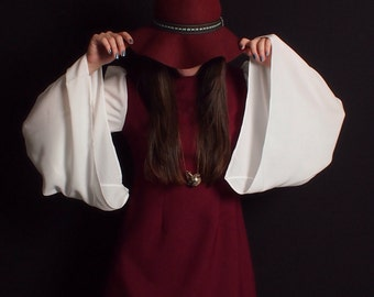60's inspired red and ivory, bell sleeve dress