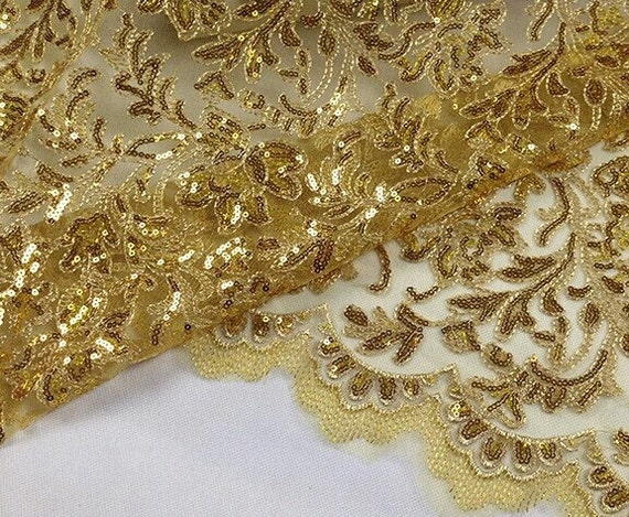 Gold Sequin Lace Fabric Luxury Golden Thread Lace Antique