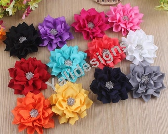 5pcs Wholesale 3.1'' inch Flower Brooch/Flower Rhinestone Headdress Fabric Flower For Pin and Headband YTA03