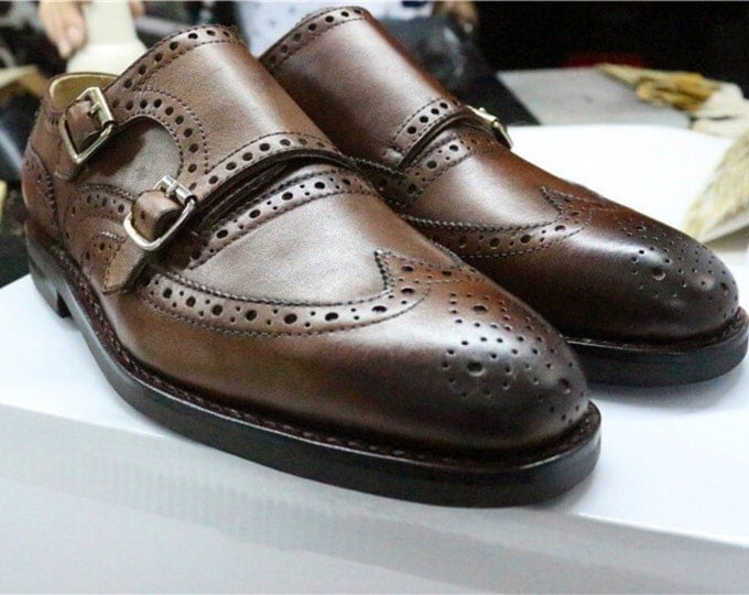 Handmade Goodyear Welted Men's Monk-Strap Dress Shoes,Pure color Pattern