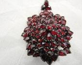 Garnet Brooch/Pendant with glassed back for a locket of hair or photo