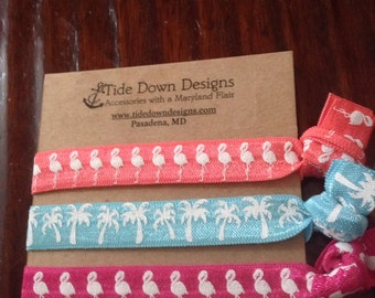 Flamingo And  Palm Tree No Crease, No Tug  Elastic Hair ties Nautical, Beachy, Coastal, Florida Gifts 3 pk