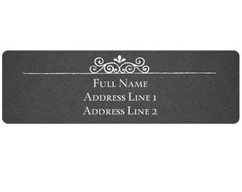 "Elegant Chalkboard Return Address Labels - 2.66"" x 0.83"" Customizable Printed Stickers"