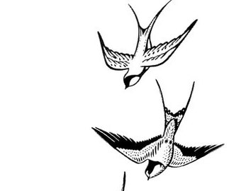 Flying swallows - Temporary tattoo