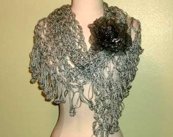 Silver Crochet Shawl Triangle Light Gray Mist Lace Bridal Wedding Wrap Scarf Boho Summer Wrap With Flower Brooch