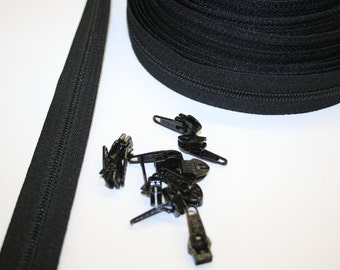 10 yards Coil Zipper size 4.5 and 10 pulls in black.
