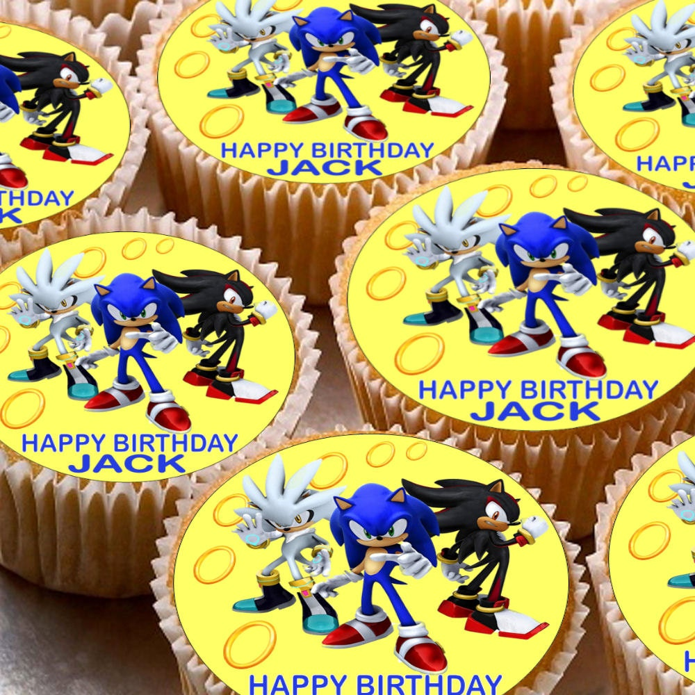 24 x Personalised Sonic the Hedgehog Cup Cake Toppers with Any