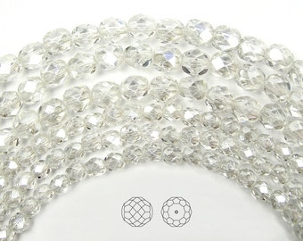8mm (51pcs) Crystal Hematite White Luster coated, Czech Fire Polished Round Faceted Glass Beads, 16 inch strand