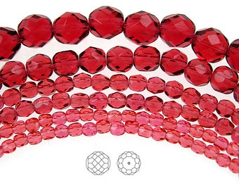 6mm (68pcs) Hot Pink, Czech Fire Polished Round Faceted Glass Beads, 16 inch strand
