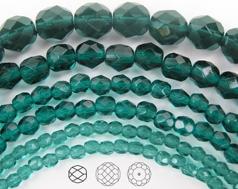 4mm (102pcs) Blue Zircon, Czech Fire Polished Round Faceted Glass Beads, 16 inch strand
