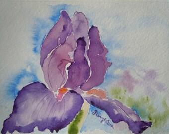 Ruffled Iris Watercolor Notecard