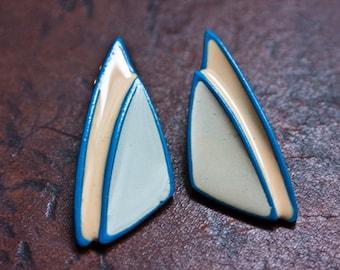 Vintage Blue Enamel Triangle Earrings.