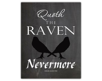 Raven nevermore - raven art print - poem art - edgar allen poe the raven - halloween print - halloween art - poetry print - gothic print
