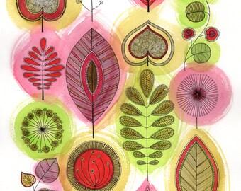 Bright Retro Leaves Print