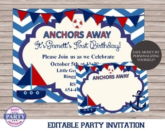 Ahoy Nautical Party Invitation, DIY, Editable, For Any Occassion, instant download, sailboat, summer, printable invitation, boat