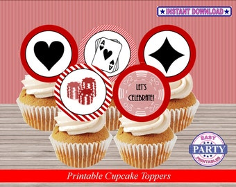 Casino party Instant Download Cupcake toppers, red and black, easily print from home, casino party, Vegas party, dice, casino night party