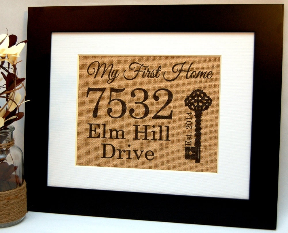 My first home personalized burlap housewarming by busybeeburlap - Return gifts for housewarming function ...
